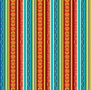 Picture of Salsa Fiesta Stripe Daisy Floral Stripes Red Blue Yellow Cotton Fabric