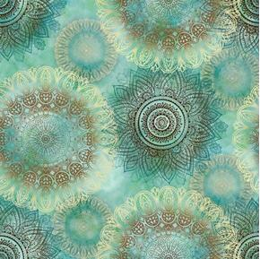 Picture of Arabesque Floating Medallions Geometric Designs Teal Cotton Fabric