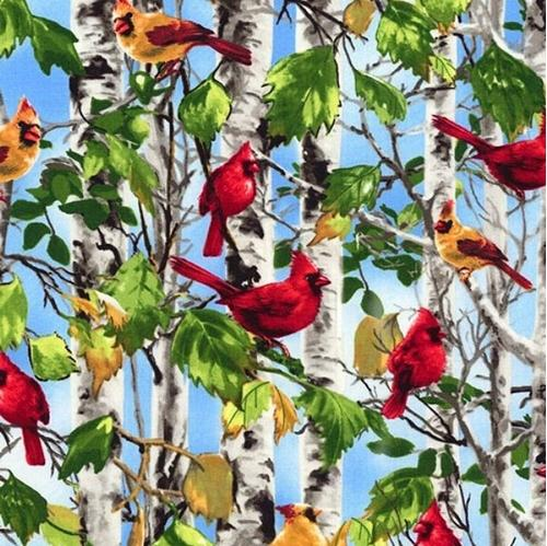 Cardinals on Birch Trees Male and Female Cardinal Birds Cotton Fabric