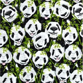 Panda Bears Happy Panda Heads and Bamboo Cotton Fabric