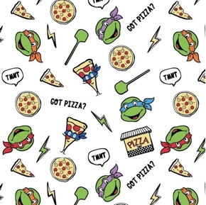 TNMT Retro Got Pizza Teenage Ninja Mutant Turtles White Cotton Fabric