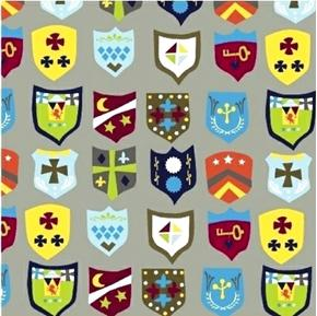 Meet The Royal Court Royal Crest Emblems Shields Gray Cotton Fabric