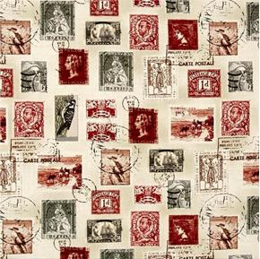 Longfellow Vintage International Postage Stamps Cotton Fabric