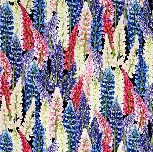 Picture of Petal Party Lupine Flowers Purple White Pink on Black Cotton Fabric