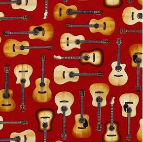 In Tune Guitars Acoustic Guitar Musical Instrument Red Cotton Fabric