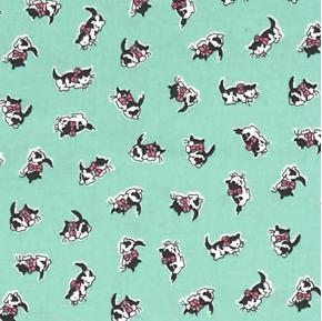 Morningside Farm Tiny Kittens Mini Cats on Green Cotton Fabric