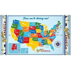 Explore America United States Map 24x44 Cotton Fabric Panel