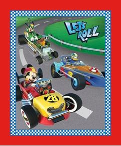 Disney Mickey and Friends Let's Roll Racing Large Cotton Fabric Panel