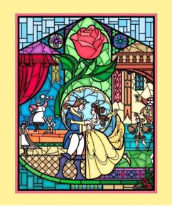 Disney Beauty and the Beast Stained Glass Large Cotton Fabric Panel