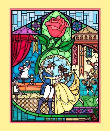 Picture of Disney Beauty and the Beast Stained Glass Large Cotton Fabric Panel
