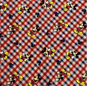 Picture of Disney Mickey Mouse on Red and Blue Plaid Cotton Fabric