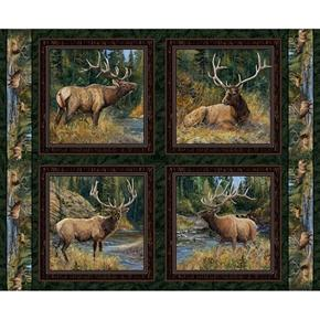 Wild Wings Lazy Afternoon Elk Bull Cotton Fabric Pillow Panel Set