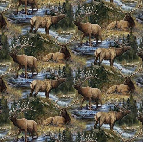 Wild Wings Lazy Afternoon Elk Scenic in the Wild Cotton Fabric