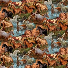 Wild Wings Rivers Edge Horse Allover Horses in the Creek Cotton Fabric