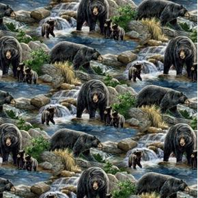 Wild Wings Cool Waters Bear Scenic Bears in the River Cotton Fabric