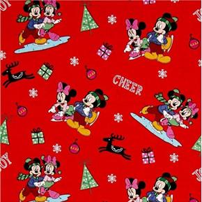 Picture of Disney Mickey and Friends Home for the Holidays Red Cotton Fabric