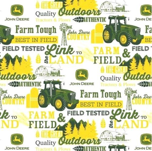 John Deere Farm Field and the Great Outdoors White Cotton Fabric