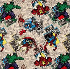 Marvel Avengers Assemble Retro Badge Comic Beige Cotton Fabric