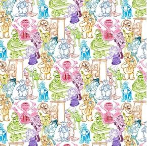 Picture of Sesame Street Rainbow Sketch Muppets Character Drawings Cotton Fabric
