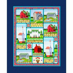 Picture of Jim Shore Village Farm Church Barn School Large Cotton Fabric Panel