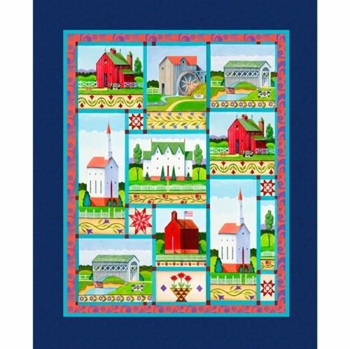 Jim Shore Village Farm Church Barn School Large Cotton Fabric Panel