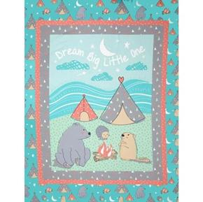 Camp Wee One Cute Animals Camping Large Cotton Fabric Panel