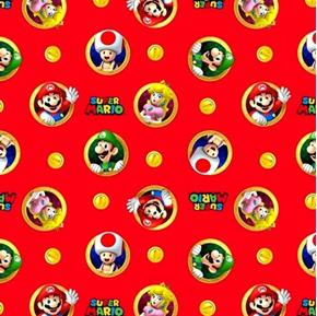 Picture of Nintendo Super Mario Badge Video Game Characters Red Cotton Fabric