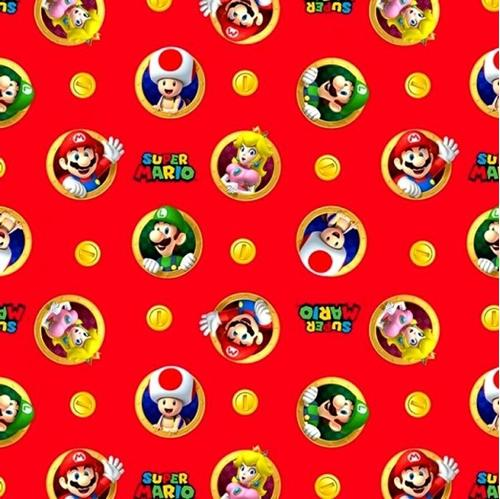 Nintendo Super Mario Badge Video Game Characters Red Cotton Fabric