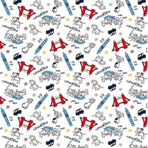 Disney 101 Dalmatians Dalmatian Adventure World Travel Cotton Fabric