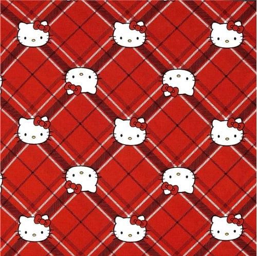 Picture of Hello Kitty Diamond Plaid Red Tartan Plaid Cotton Fabric