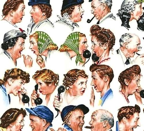 Norman Rockwell Gossip Train Conversations on White Cotton Fabric