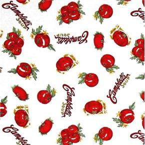 Campbells Soup Heritage Tomatoes on White Cotton Fabric