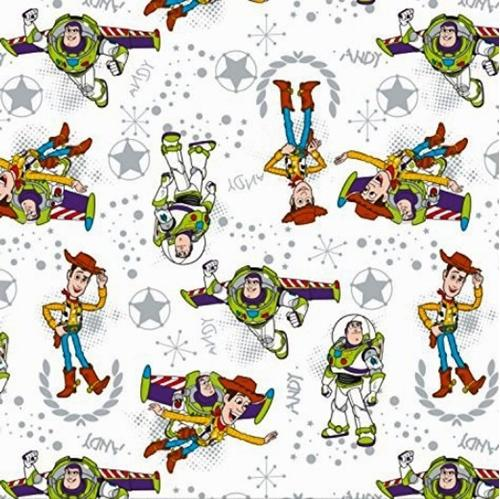 Picture of Disney Toy Story Woody Buzz Sheriff Badge White Cotton Fabric