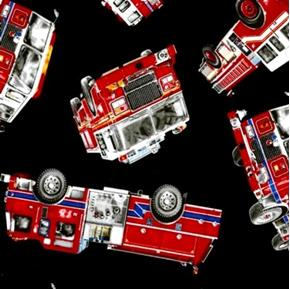 Tossed Fire Trucks Emergency Fire Engines on Black Cotton Fabric