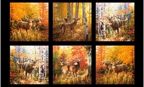 Autumn Surprise White-Tailed Whitetail Deer 24x44 Cotton Fabric Panel