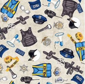 Picture of Protect and Serve Police Gear Tossed Swat Gear Gray Cotton Fabric
