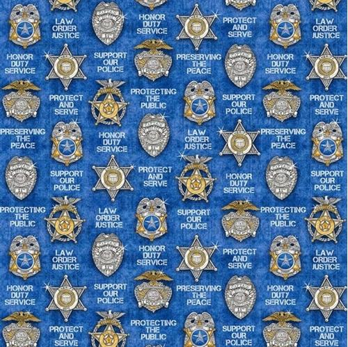 Picture of Protect and Serve Police Badge Shield Star Blue Cotton Fabric