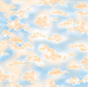 How Great Thou Art White and Gold Clouds on a Blue Sky Cotton Fabric