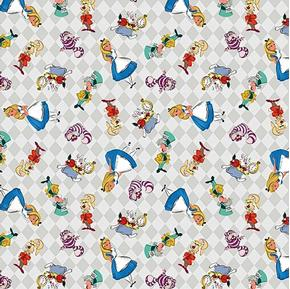 Disney Alice and Friends Allover on Checks Cotton Fabric