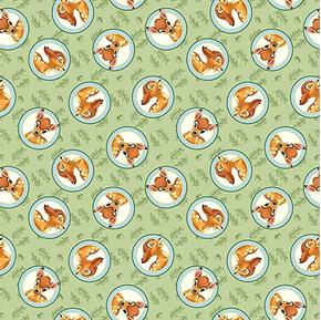 Disney Bambi Badge Cute Bambi Cameos on Green Cotton Fabric