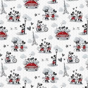 Disney Mickey and Minnie Vintage Scenes of Romance Cotton Fabric