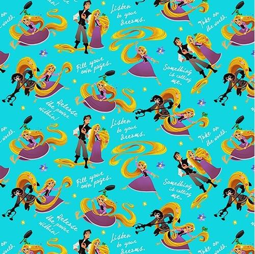 Cotton fabric character fabric disney princess rapunzel and disney princess rapunzel and friends inspirational aqua cotton fabric altavistaventures Image collections