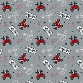 Picture of Disney Mickey and Minnie Fireworks of Love Grey Cotton Fabric