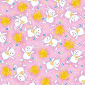 A Joyful Easter Playful Bunnies and Chicks on Pink Cotton Fabric