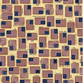 Picture of For Love Of Country 1776 Liberty Flags Patriotic Ecru Cotton Fabric