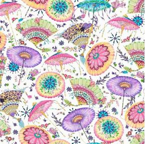 Fanfare Fans and Parasols Oriental Pastel Decorations Cotton Fabric
