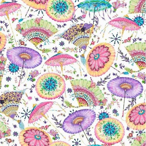 Fanfare Fans and Parasols Oriental Pastel Decorations Cotton Fabric