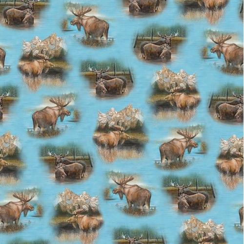 By Water's Edge Moose Vignettes on Blue Water Cotton Fabric