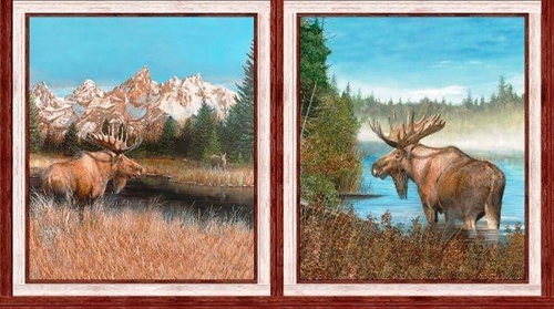 By Water's Edge Moose Picture Patches 24x44 Cotton Fabric Panel