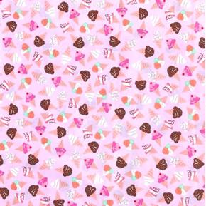 What's The Scoop Ice Cream Cones on Pink Cotton Fabric